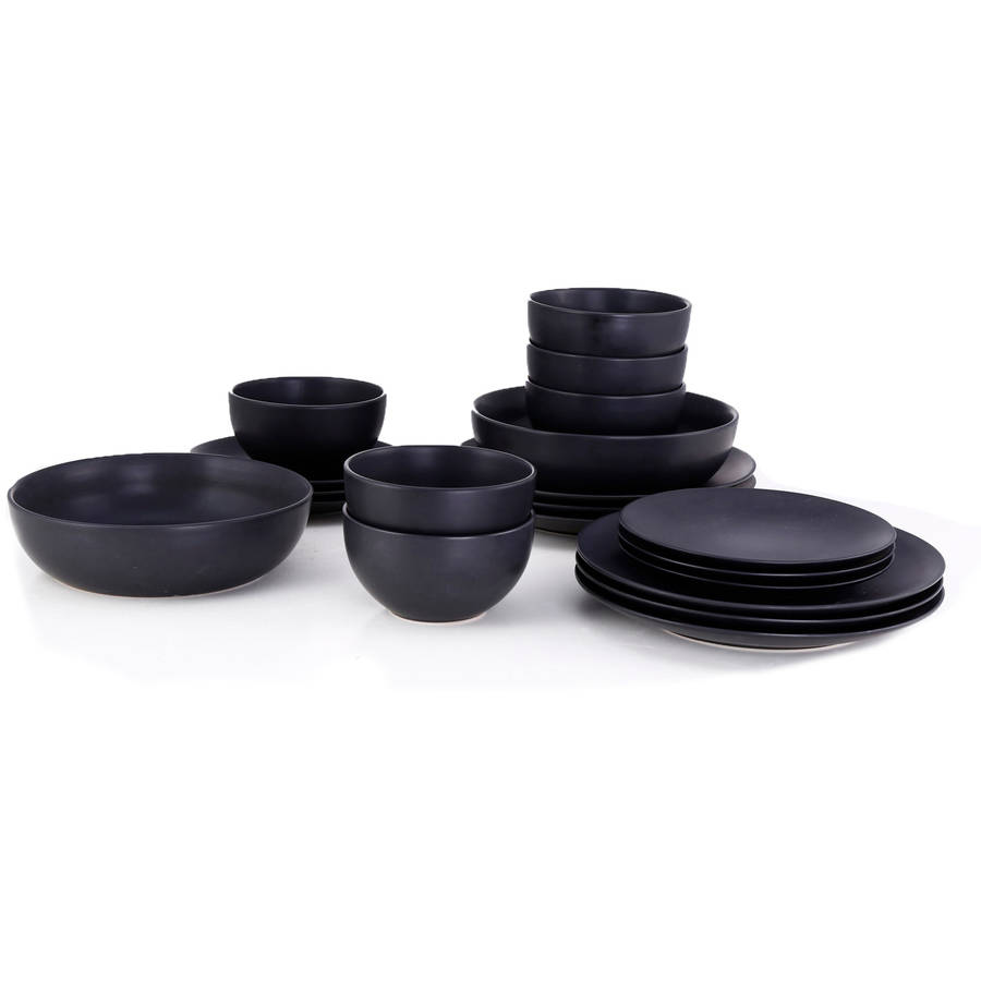 10 Strawberry Street Round Dinnerware Set 20-Piece  sc 1 st  Walmart.com : matte black dinnerware - pezcame.com
