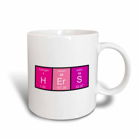 3dRose Pink Hers in Elements from Periodic Table - half of his and hers set - Ceramic Mug, 11-ounce