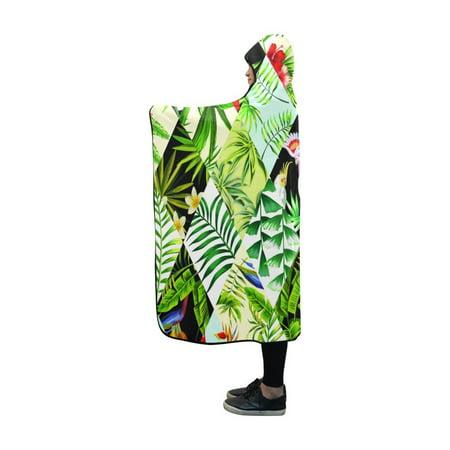 HATIART Hooded Blanket Birds And Flowers Indoor Pilling Polar Fleece Blanket Wearable Blankets 50x60 inch - image 1 of 3