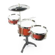 Fun Central Desktop Drum Set Musical Instrument Toy for Kids & Toddlers - Red