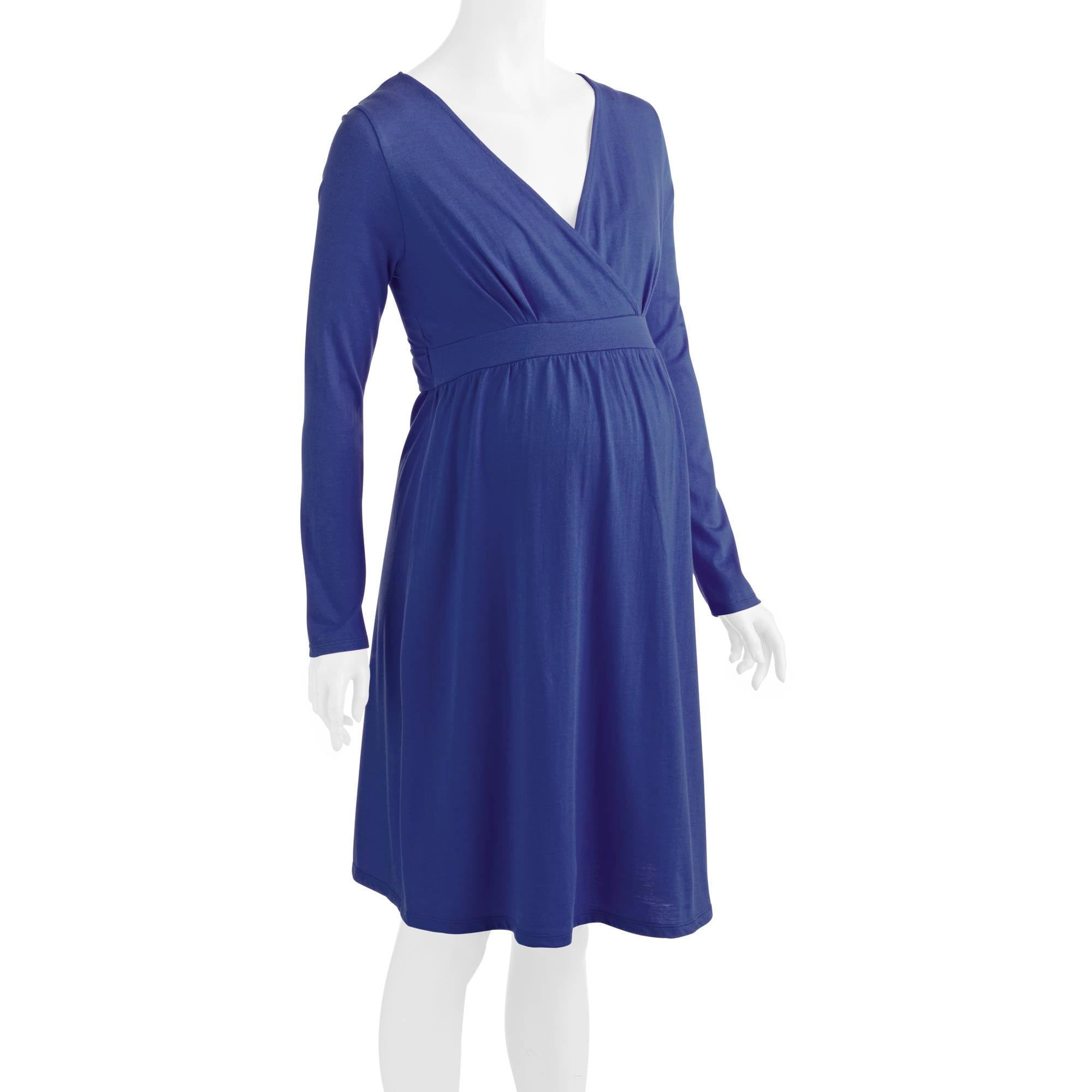 Maternity Nursing Surplice Long Sleeve Dress