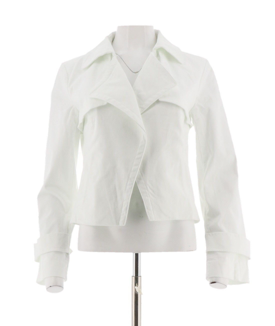 Du Jour Open Front Cropped Jacket Pockets White XL NEW A303287