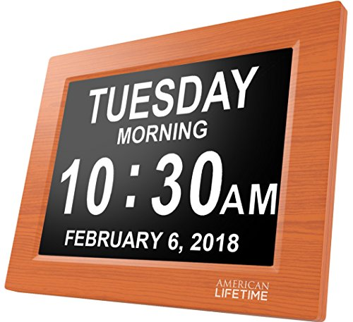 [Newest Version] American Lifetime Day Clock - Extra Large Impaired Vision Digital Clock with Battery Backup & 5 Alarm Options - Brown Wood Color