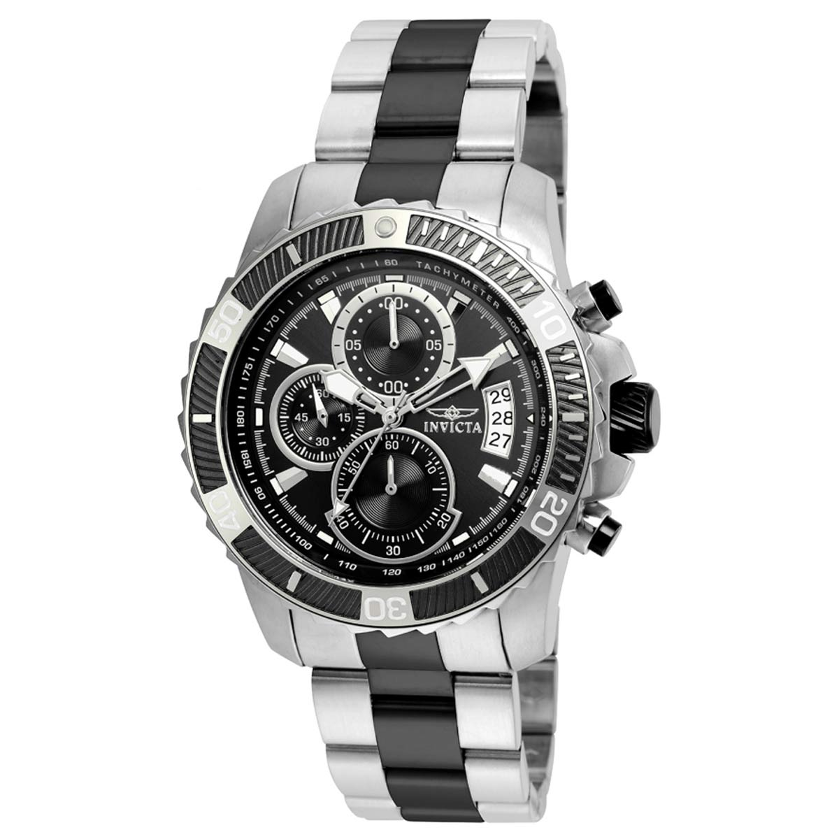 Invicta 22416 Men's Pro Diver Chronograph Black Dial Two Tone Steel Bracelet Watch