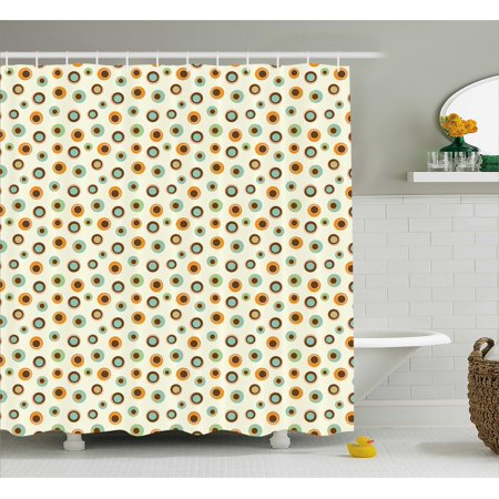 Fun Shower Curtain Circular Shapes With Big Small Polka Dots Inside Funky Energetic Vibrant