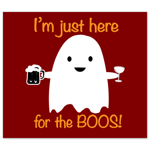 Beer Bottle Labels - Here For The Boos Halloween Ghost - Set of 6