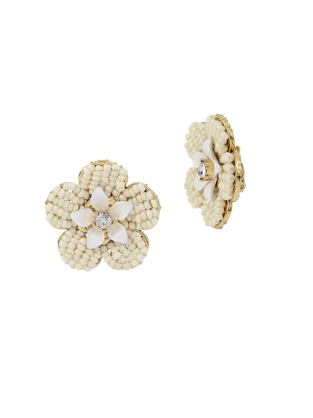 Vintage Pearl White Flower Crystal and Faux Pearl Stud Earrings