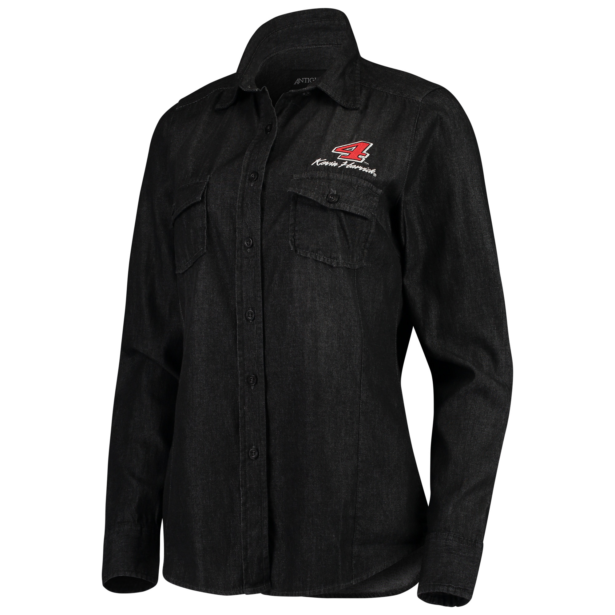Kevin Harvick Antigua Women's Outlook Long Sleeve Button-Up Chambray Shirt - Black