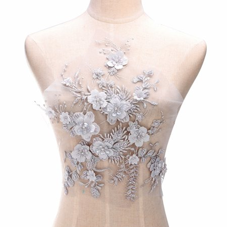 Wedding Dress Fabric 3D Flowers Pearl Beads Lace Sew on Patch Applique DIY Craft White