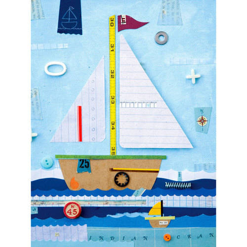 Oopsy Daisy Sailboat Treasures Canvas Wall Artwork 18x24, Holli Conger by Oopsy Daisy, Fine Art For Kids