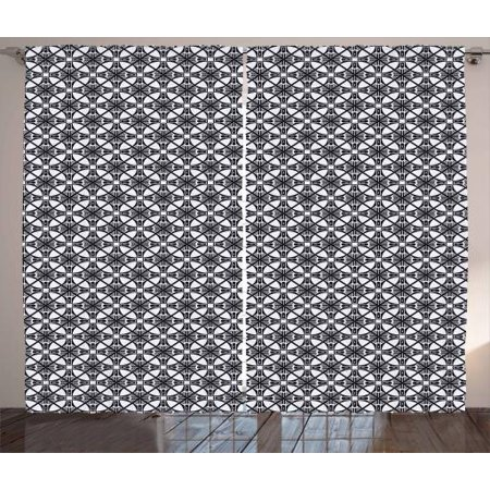 Art Deco Curtains 2 Panels Set Crooked Lines Template Of Continuous Pattern On Wire Netting Window D For Living Room Bedroom