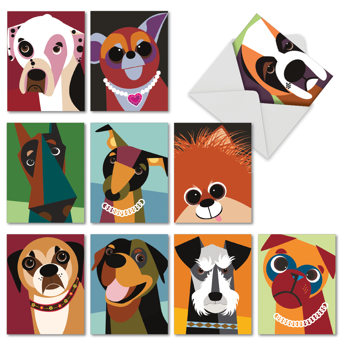 'M6632OCB CUBIC CANINES' 10 Assorted All Occasions Notecards Featuring Funky Portraits of Best Loved Dog Friends, with Envelopes by The Best Card Company