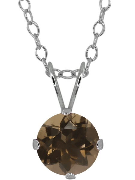 "0.8Ct Round Shape Brown Smoky Quartz Sterling Silver Solitaire Pendant 18"" Chain"