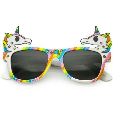 Novelty Rainbow Unicorn Sunglasses Horn Rimmed Square Lens 50mm (White Rainbow / (Novelty Sunglasses For Adults)