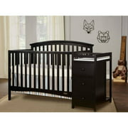 Dream On Me Niko, 5 in 1 Convertible Crib with Changer, Black