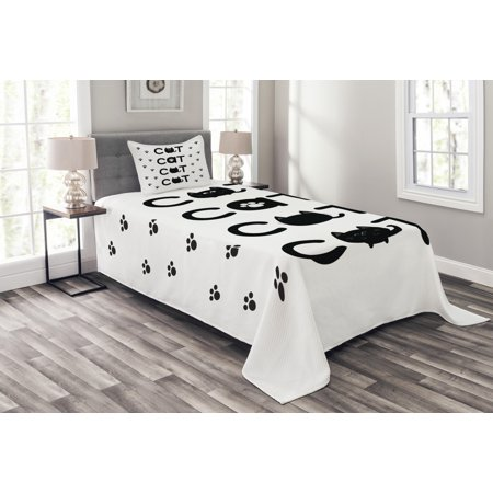 Kitty Bedspread Set, Cat Text out of Round Shaped Cute Cats with Little Paw Prints in Black and White, Decorative Quilted Coverlet Set with Pillow Shams Included, Black White, by Ambesonne