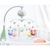 Musical Baby Crib Mobile Toy Toddler Bed Bell With Animal Rattles Projection Cartoon Early Learning Toys (Green Pig)