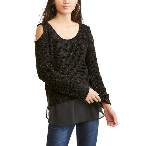 Moral Fiber Juniors' Spreckled Knit Cold Shoulder Hi - Low Chiffon Back Sweater