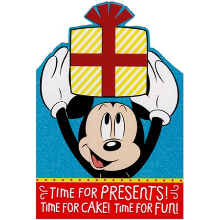 Hallmark Mickey Mouse Time For Presents Juvenile Disney Birthday Card with Stickers - Mickey Mouse Birthday Photo Invitations
