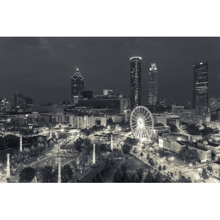 Georgia, Atlanta, Centennial Olympic Park, Elevated City View at Dusk Night Cityscape Black and White Photography Print Wall Art By Walter Bibikow