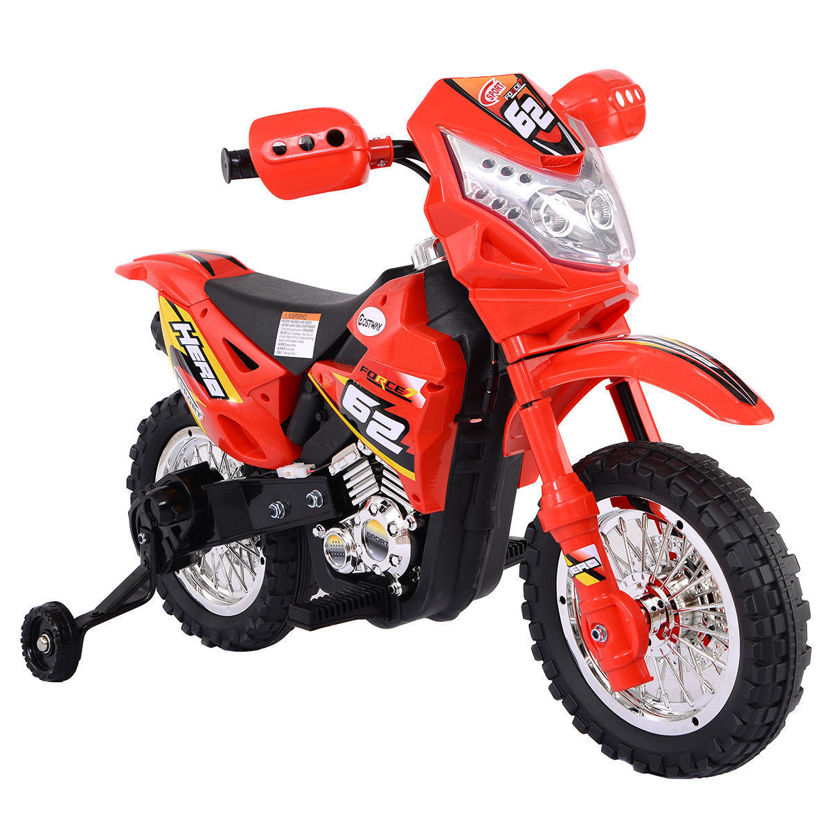 Costway Kids Ride On Motorcycle with Training Wheel 6V Battery Powered Electric Toy by Costway