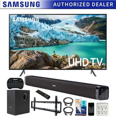 Samsung UN65RU7100 65-inch RU7100 LED Smart 4K UHD TV (2019) Bundle + Deco Gear Soundbar + Subwoofer, Wall Mount Kit, Deco Gear Wireless Keyboard, Cleaning Kit UN65RU7100FXZA 65RU7100 UN65RU7100 (Smart Tv Keyboard Samsung)