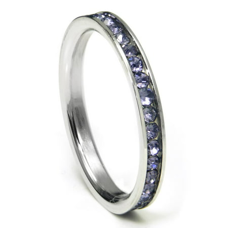 316L Stainless Steel Alexandrite Lavender Cubic Zirconia CZ Eternity Wedding 3MM Band Ring Sz 7