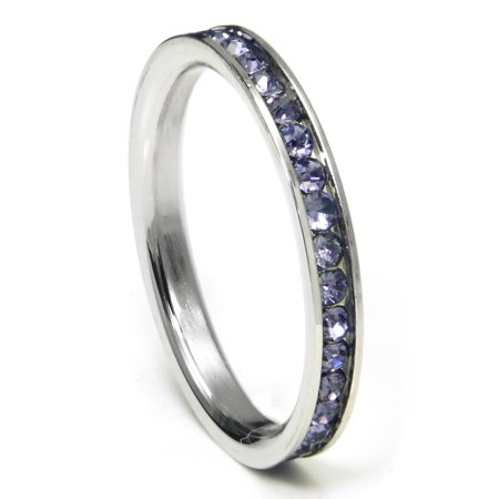 316L Stainless Steel Alexandrite Lavender Cubic Zirconia CZ Eternity Wedding 3MM Band Ring Sz 7 ()