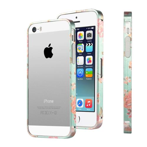 ULAK Bumper Metallic Frame Case Cover for Apple iPhone 5 5S with Side Protection Arc Bumper and Slim Metal Frame Case(Flower)