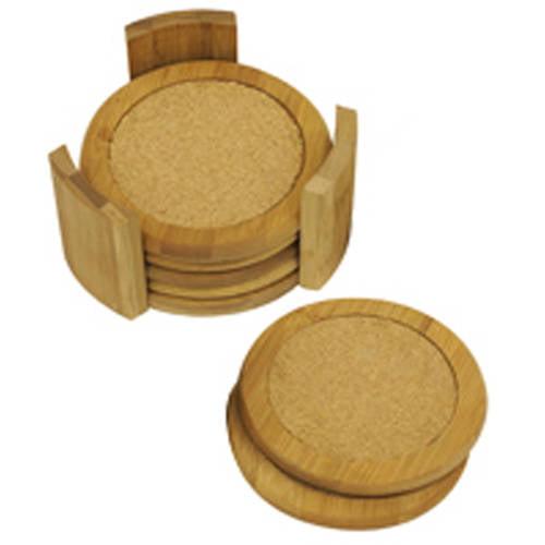 Home Basics Coaster Set 7 Piece Bamboo Walmart Com Walmart Com