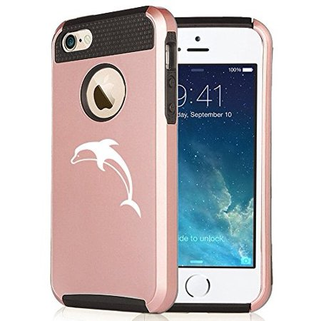 For Apple iPhone SE Rose Gold Shockproof Impact Hard Soft Case Cover Dolphin (Rose Gold-Black)