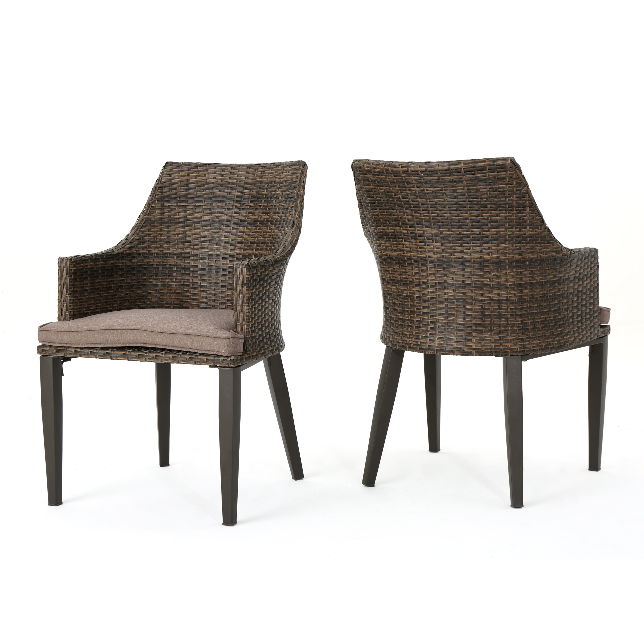 Hillhut Outdoor Wicker Dining Chairs with Water Resistant Cushions, Set of 2, Mocha