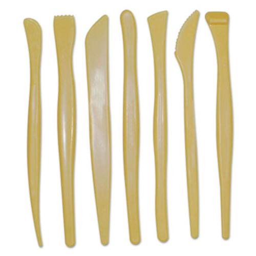"Chenille Kraft 9774 Plastic Modeling Tools, Plastic, 6"" Long, 7 Tools With Assorted Tips, Yellow"
