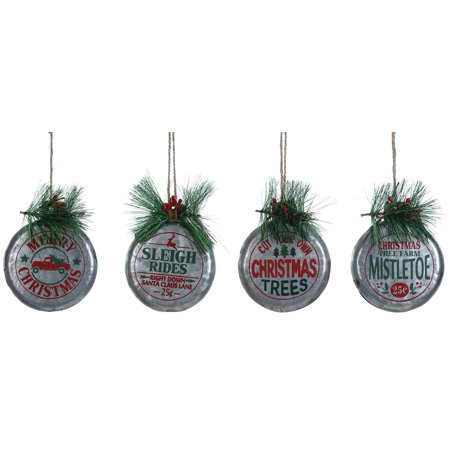 Special T Imports Vintage Style Sleigh Rides Tree Farm Ornaments Set of 4 Metal