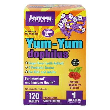 - Jarrow Formulas - Yum-Yum Dophilus Sugar Free Raspberry - 120 Chewable Tablets