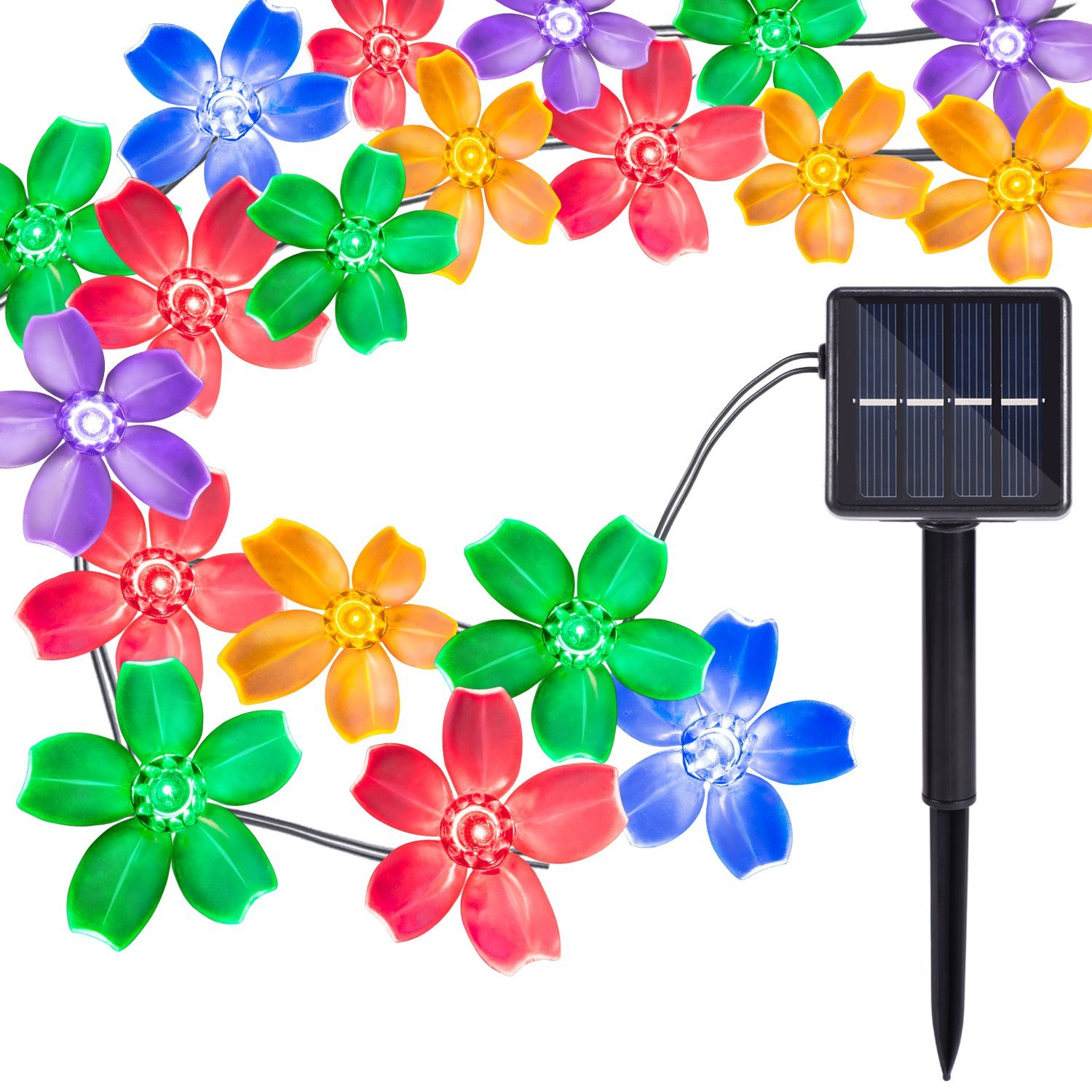 Oak Leaf 30 LED Solar Powered 20ft Multi-color Waterproof Decorative String Lights Christmas Led Fairy Blossom Flower Light For Outdoor, Party,Wedding,Garden,Tree