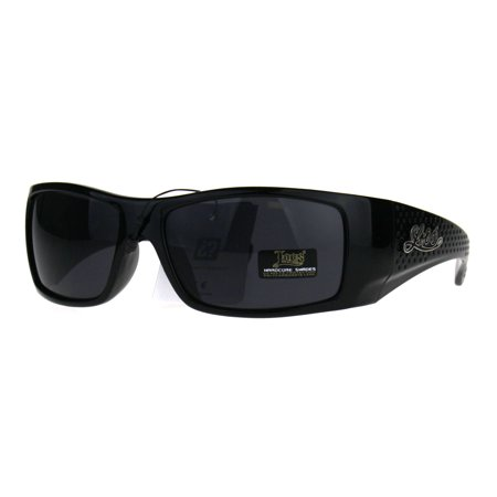 Locs Thick Temple All Black Cholo Gangster Plastic Warp Sunglasses