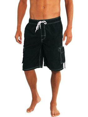 Norty Mens Big Extended Size Swim Trunks - Mens Plus King Size Swimsuit thru 5X Black / XXXXX