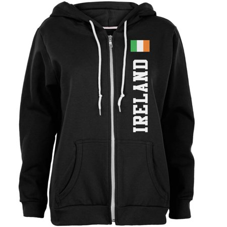 Image of St Patricks Day Ireland Flag World Cup Womens Full Zip Hoodie Black MD