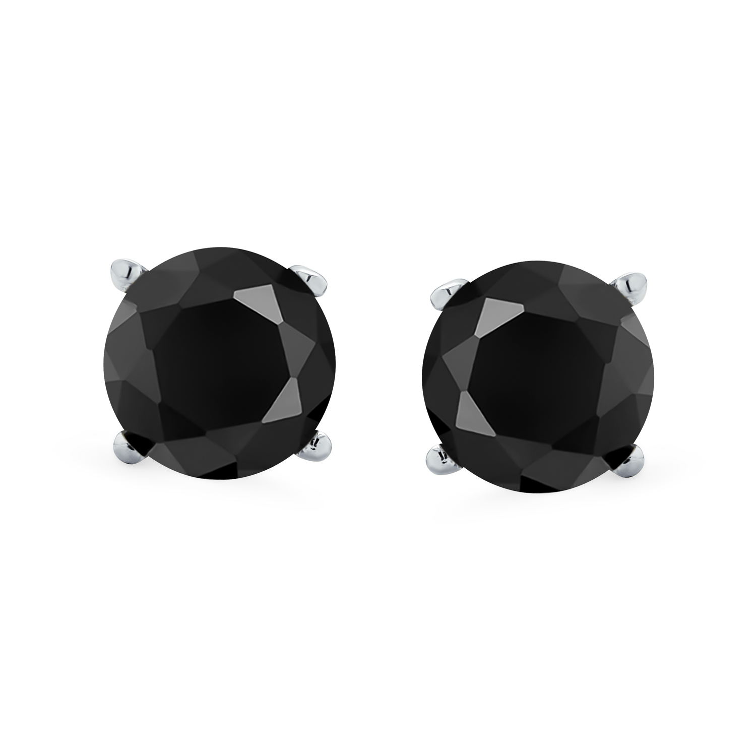 9 Ct Black Spinel Stud Earrings with Push Back for Women in Sterling Silver TJC
