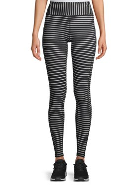 Avia Women's Active Performance Black and White Stripe Leggings