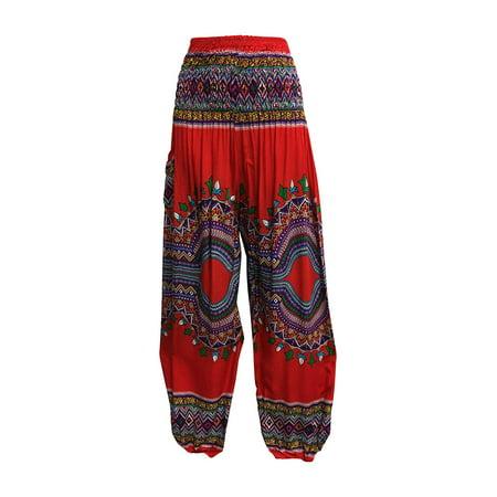 436e022ba1343 Ambey Craft - Indian Bohemian Gypsy Ethnic Dashiki Print Yoga Cotton Harem  Pants (Red) - Walmart.com
