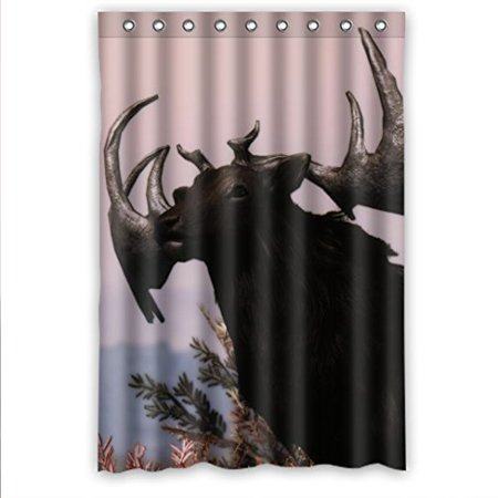 MOHome Animal Elk Shower Curtain Waterproof Polyester Fabric Size 48x72 Inches