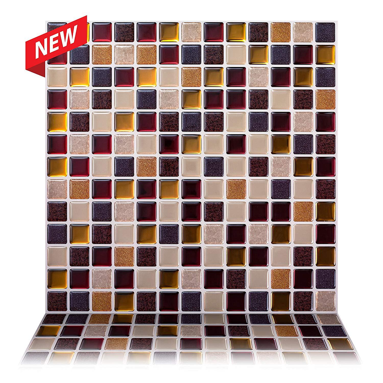 Tic Tac Tiles - Premium Anti Mold Peel and Stick Wall Tile Backsplash in Square Maple (10-Tiles)