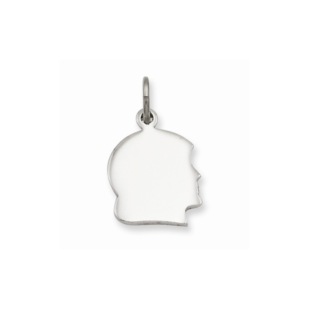 Rhodium-plated Small Engravable Girl's Head Charm (0.8in long x 0.5in wide)
