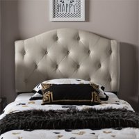Baxton Studio Myra Modern and Contemporary Upholstered Button-Tufted Scalloped Twin Size Headboard, Multiple Finishes