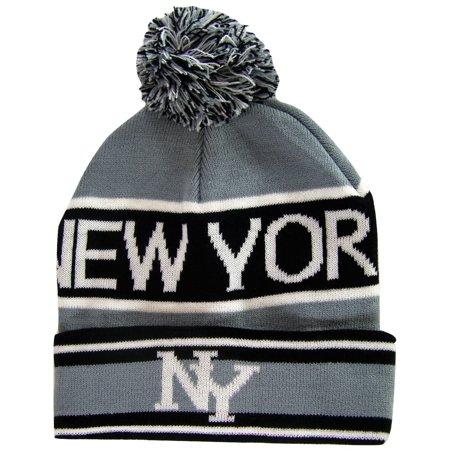 071ad2453f7 New York Headwear - New York City NY Men s 2-Tone Winter Knit Pom Beanie  Hats (Gray Black) - Walmart.com