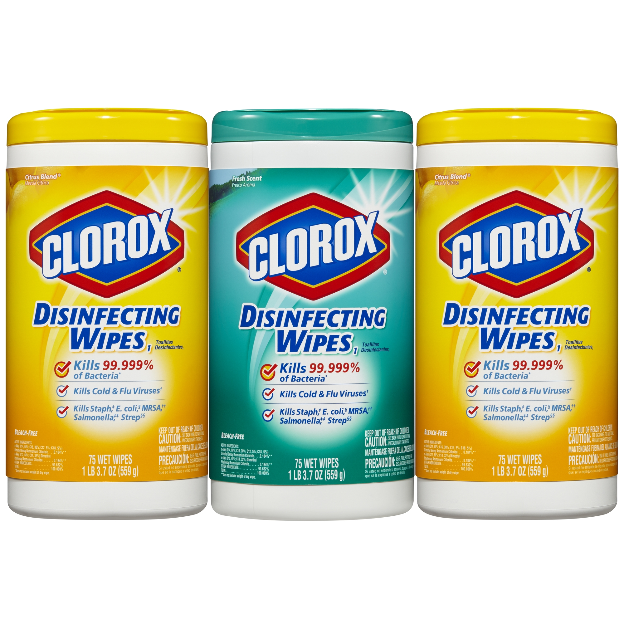 Clorox Disinfecting Wipes Value Pack, Fresh Scent and Citrus Blend, 75 Wipes, 3 Ct