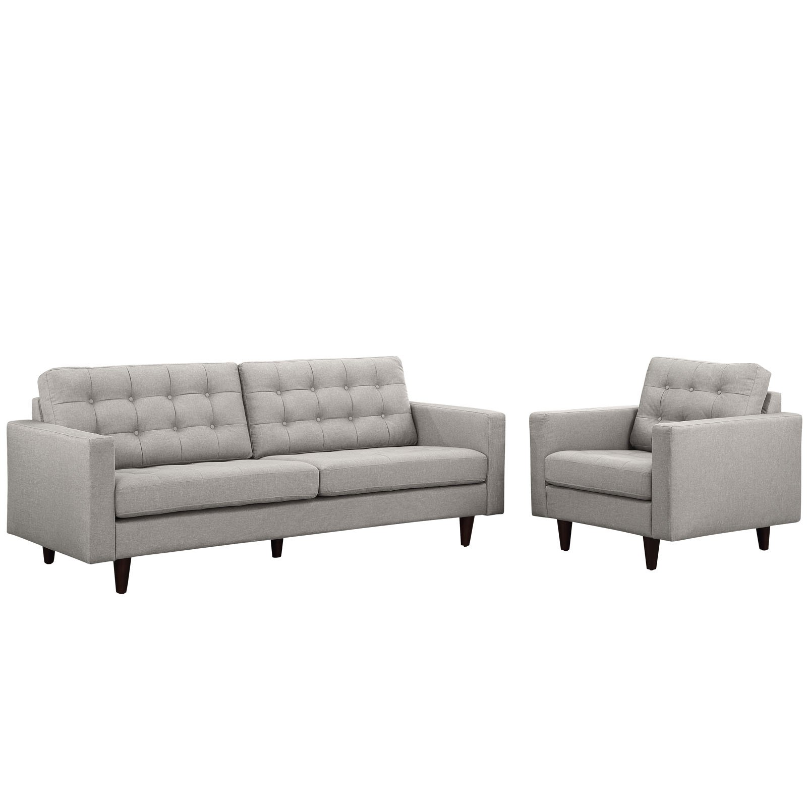 Modway Empress Armchair and Sofa, Set of 2, Multiple Colors