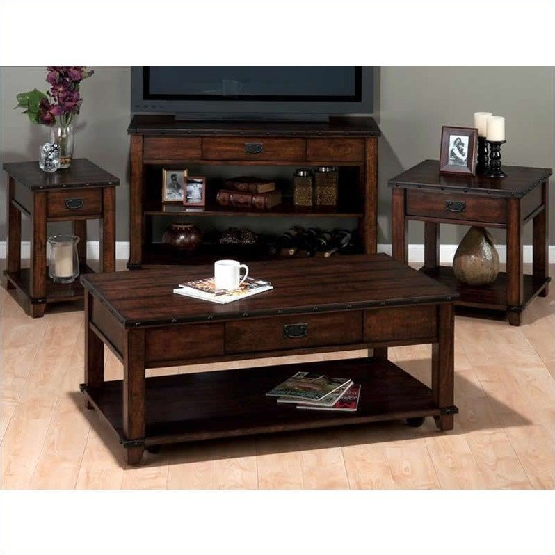 Jofran 4 Piece Occasional Table Set in Cassidy Brown by Jofran